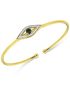 Diamond Evil Eye Flexie Bangle Bracelet (1/6 ct. t.w.) in 14k Gold-Plated Sterling Silver