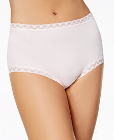 Natori Bliss Lace-Trim High Rise Cotton Brief 755058