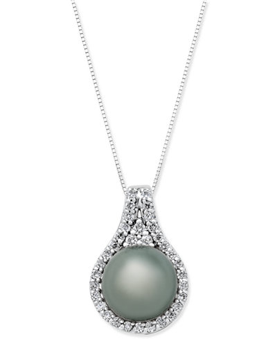 Cultured Tahitian Pearl (11mm) and Diamond (1/2 ct. t.w.) Pendant Necklace in 14k White Gold