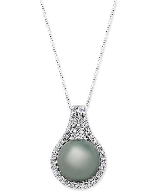 Macy's Cultured Tahitian Pearl (11mm) and Diamond (1/2 ct. t.w.) Pendant Necklace in 14k White Gold