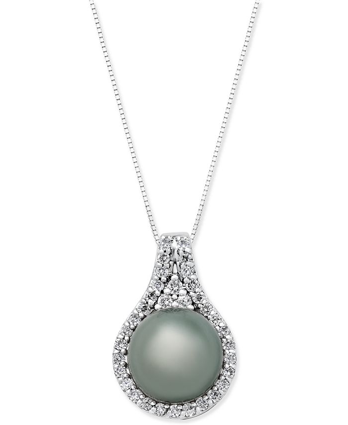 Macy's - Cultured Tahitian Pearl (11mm) and Diamond (1/2 ct. t.w.) Pendant Necklace in 14k White Gold