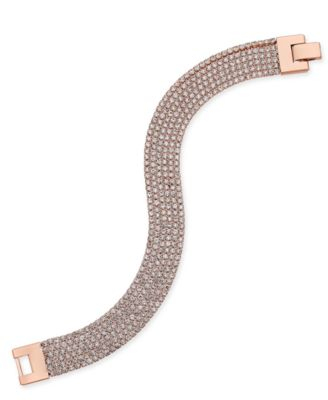 Image of Charter Club Rose Gold-Tone Pavé Mesh Link Bracelet, Only at Macy's