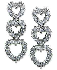 Giani Bernini Cubic Zirconia Pavé Triple Heart Drop Sterling Silver Earrings, Created for Macy's