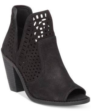 Jessica Simpson Cherrell Cutout Peep-Toe Ankle Booties Women