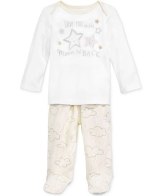 Baby Boys & Girls 2-Pc. To The Moon Top & Footed Pants Set, Created for Macy's