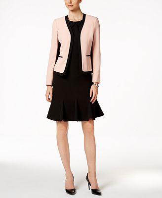 Kasper Crepe Jacket & Flare-Hem Sheath Dress