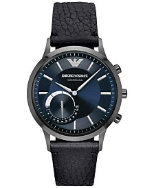 Emporio Armani Men's Black Leather Strap Hybrid Smart Watch 43mm ART3004