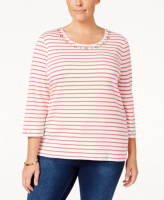 Karen Scott Plus Size Striped Grommet Top, Only at Macy's