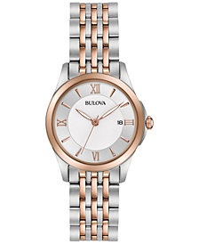 Bulova Women's Dress Two-Tone Stainless Steel Bracelet Watch 27mm 98M125