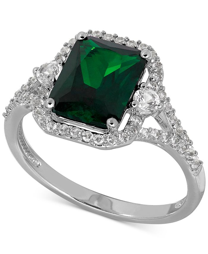 Macy's - Lab-Created Emerald (2-1/10 ct. t.w.) and White Sapphire (3/8 ct. t.w.) Ring in Sterling Silver