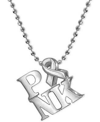 """Alex Woo """"Pink Ribbon"""" Pendant Necklace in Sterling Silver ..."""