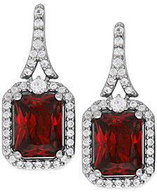 Lab-Created Ruby (4-1/5 ct. t.w.) and White Sapphire (1/2 ct. t.w.) Drop Earrings in Sterling Silver