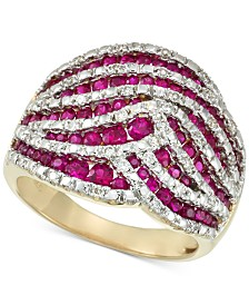 RARE Featuring GEMFIELDS Certified Ruby (1-1/4 ct. t.w.) and Diamond (1/4 ct. t.w.) Statement Ring in 14k Gold, Created for Macy's