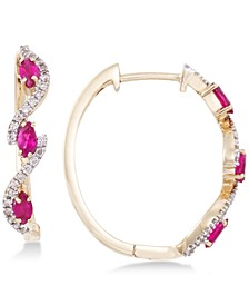 Certified Ruby (5/8 ct. t.w.) and Diamond (1/5 ct. t.w.) Hoop Earrings in 14k Gold, Created for Macy's