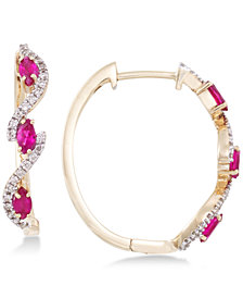 RARE Featuring GEMFIELDS Certified Ruby (5/8 ct. t.w.) and Diamond (1/5 ct. t.w.) Hoop Earrings in 14k Gold, Created for Macy's