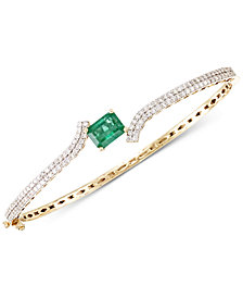 RARE Featuring GEMFIELDS Certified Emerald (1-2/3 ct. t.w.) and Diamond (1 ct. t.w.) Hinged Bangle Bracelet in 14k Gold