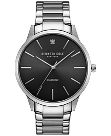 Men's Diamond Accent Stainless Steel Bracelet Watch 43mmx50mm 10031280