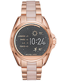 Michael Kors Women's Access Bradshaw Digital Rose Gold-Tone Stainless Steel and Blush Acetate Bracelet Smart Watch 44mm MKT5013