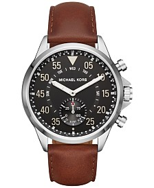 Michael Kors Access Men's Gage Hybrid Chocolate Leather Strap Smart Watch 45mm MKT4001
