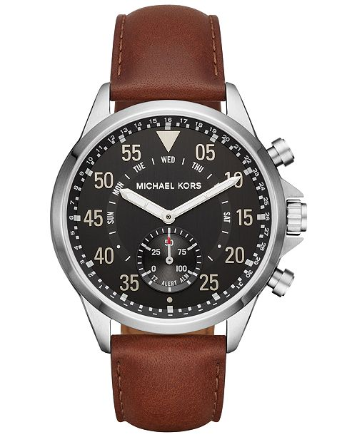 15852f1561e1 ... Michael Kors Access Men's Gage Hybrid Chocolate Leather Strap Smart  Watch 45mm MKT4001 ...