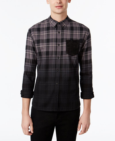 Wht space by shaun white men 39 s ombr plaid flannel shirt for Space flannel
