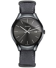 Rado Unisex Swiss True Gray NATO Nylon Strap Watch 40mm R27232106