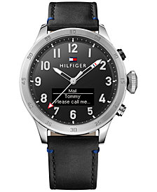 Tommy Hilfiger Men's Analog-Digital Black Leather Strap Smart Watch 46mm 1791299