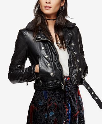 Free People Ashville Faux-Leather Military Jacket - Jackets ...