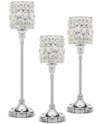 Lighting by Design 3-Pc. Crystal Taper Silver Candlestick Set