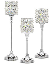 Godinger Lighting by Design 3-Pc. Crystal Taper Silver Candlestick Set