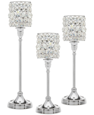 Godinger Lighting by Design 3Pc Crystal Taper Silver Candlestick Set