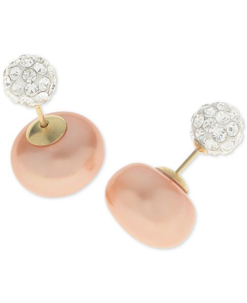 Macy's Dyed Pink Cultured Freshwater Pearl (11mm) and Pavé Crystal Ball Front and Back Earrings in 14k Gold