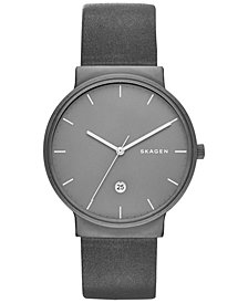 Skagen Men's Gray Leather Strap Watch 40mm SKW6320
