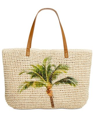 Style & Co Palm Tree Straw Beach Bag Tote, Only at Macy's ...
