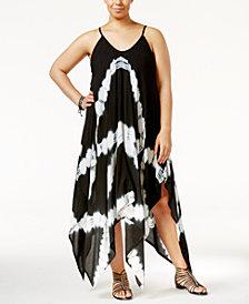 Raviya Plus Size Tie-Dye Handkerchief-Hem Cover-Up Dress