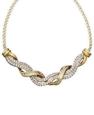 14k Gold Necklace Diamond Swirl Twist 1 2 Ct T W