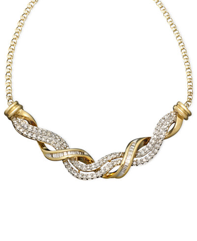 14k Gold Necklace, Diamond Swirl Twist (1/2 ct. t.w.)
