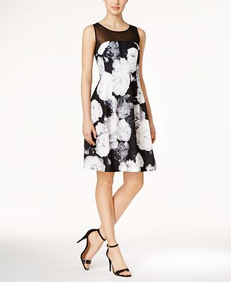 Calvin Klein Petite Illusion Floral-Print Fit U0026 Flare Dress - Dresses - Women - Macyu0026#39;s