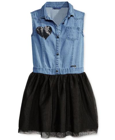 GUESS Denim & Tulle Dress, Big Girls (7-16)