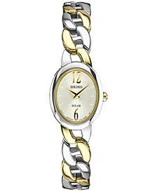 Seiko Women's Solar Two-Tone Stainless Steel Bracelet Watch 19mm SUP336