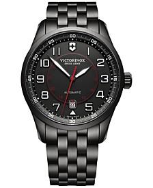 Men's Swiss Automatic Airboss Black PVD Stainless Steel Bracelet Watch 42mm 241740