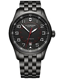 Victorinox Swiss Army Men's Swiss Automatic Airboss Black PVD Stainless Steel Bracelet Watch 42mm 241740
