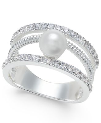Image of Charter Club Crystal Imitation Pearl Ring, Only at Macy's