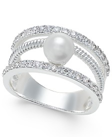 Charter Club Crystal Imitation Pearl Ring, Created for Macy's