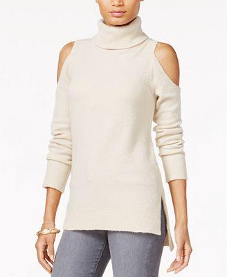 Sanctuary Cold-Shoulder Turtleneck Sweater