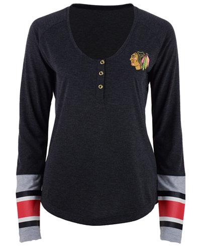 Reebok Women's Chicago Blackhawks Stripe Henley Long Sleeve T-Shirt