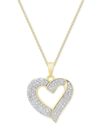 Diamond Heart Pendant Necklace (1/2 ct. t.w.) in Sterling Silver, 18k Gold-Plated Sterling Silver or 18k Rose Gold-Plated Sterling Silver