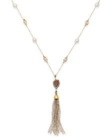 Paul & Pitü Naturally 14k Gold-Plated Multi-Stone and Cultured Freshwater Pearl Tassel Pendant Necklace