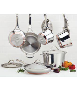 anolon nouvelle copper stainless steel 11 piece cookware set - Copper Cookware Set