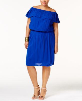 INC International Concepts Plus Size Off-The-Shoulder Dress, Only at Macy's
